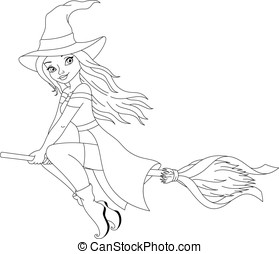 Witch Coloring Page - Witch flying on broom