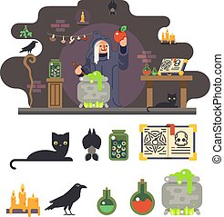 Witch cook magical sweet apple laboratory icons set background flat design vector illustration