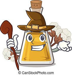 Witch cottonseed oil in the cartoon shape vector ...