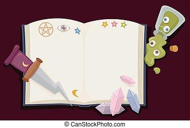 Witch Craft Book Dagger Gems