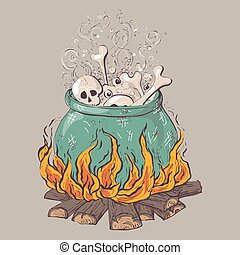 Witch crafting pot. Halloween card poster. Vector illustration.