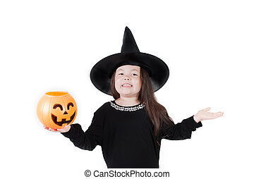 Witch Crafty - Simple, isolated studio of a young girl...