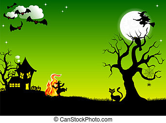 witch dancing around fire at halloween