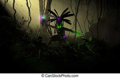 high resolution highly detailed 3d illustration of a witch doctor summoning undead zombies and casting poison insect spell.