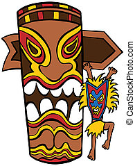 Witch Doctor Tiki Idol cartoon character and totem pole isolated on white background.