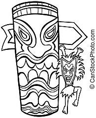 Witch Doctor Tiki Idol Line Art