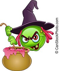 witch emoticon with cauldron