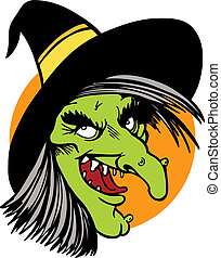 witch face isolated on a white background.