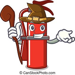 Witch fire extinguisher mascot cartoon
