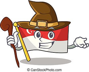 Witch flag singapore isolated with the character vector illustration