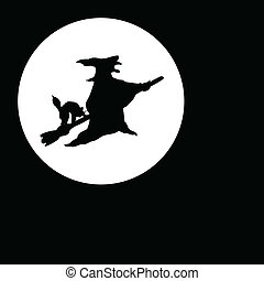 witch fly on moon black illustratio