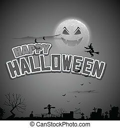 Witch flying in Happy Halloween Background