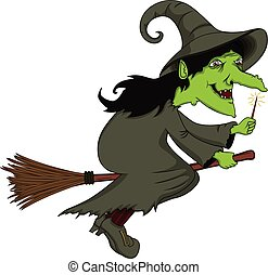 Witch flying on a broom cartoon