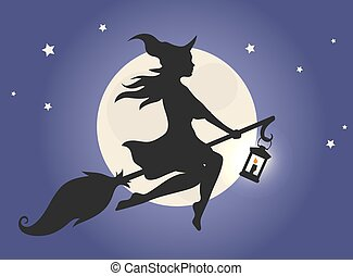 Witch flying on a broom