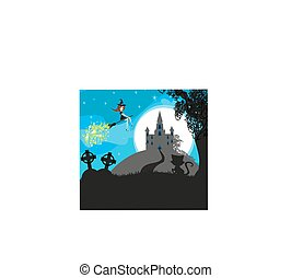 Witch flying on a broom in moonlight
