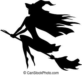 Witch flying on a broomstick - Vector silhouette of a witch...