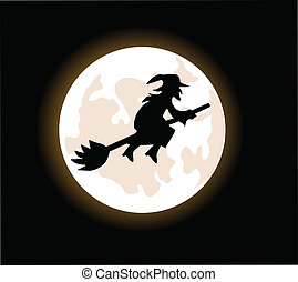 witch flying on a broomstick - A cartoon witch flying on a...