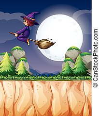 Witch flying on broom at night