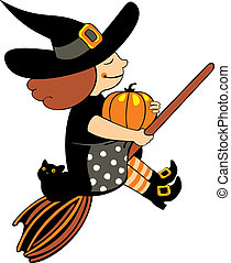 witch flying on broom isolated