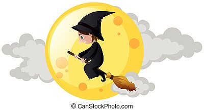 Witch flying on broom over the moon