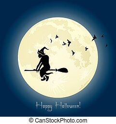Witch flying on broom stick in Halloween night. Vector card