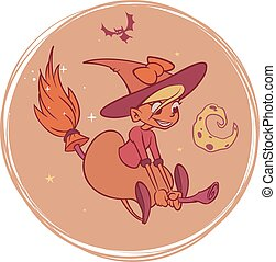 Witch flying on her broom cartoon