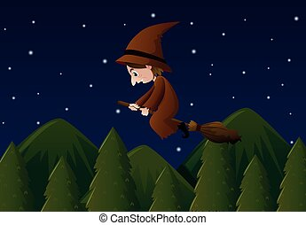 Witch flying on magic broom at night