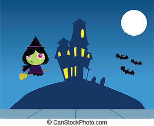 Witch Flying over a House on