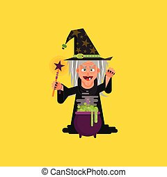 Witch for halloween in a flat style