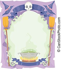 Illustration of a Halloween Frame with a Cauldron at the Center