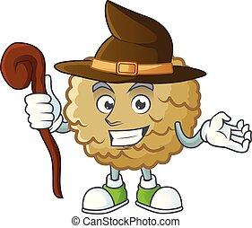 Witch fresh marolo fruit character mascot in cartoon