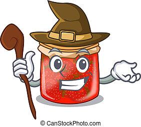 Witch fresh tasty strawberry jam on mascot vector...