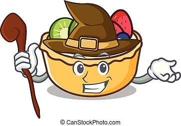 Witch fruit tart mascot cartoon