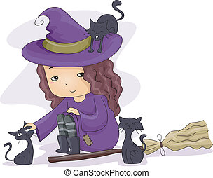 Witch Girl Cats