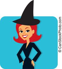 Witch girl cute cartoon