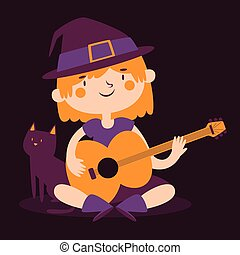 Witch Girl Playing Guitar Next to her Cat