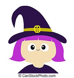 Witch girl wearing curl hat costume. Cartoon funny spooky baby magic character. Happy Halloween. Cute head face. Greeting card. Flat design. White background. Isolated.