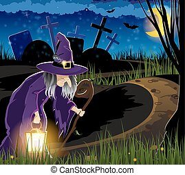 Witch goes to the cemetery - Witch with a lantern on the...