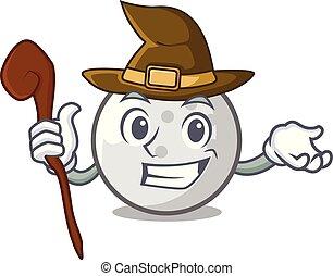 Witch golf ball mascot cartoon