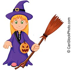 witch Halloween Cartoon with broom and pumpkin bag