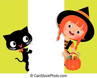 Witch Halloween, her cat and a whit