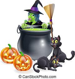 Witch Halloween Scene