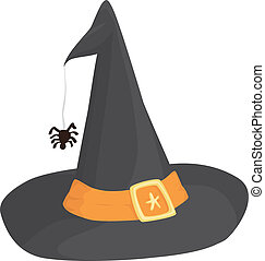 Witch Hat - A witch hat with an orange band and a spider.