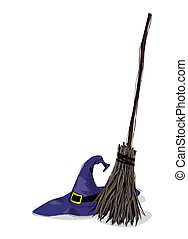 witch hat and broomstick - illustration of witch hat and...