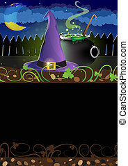 Witch hat and  cauldron