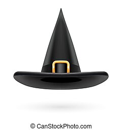 Witch hat - Black witch hat with golden buckle and hatband