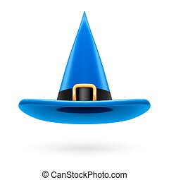 Witch hat - Blue witch hat with golden buckle and hatband