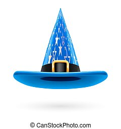 Witch hat - Blue witch hat with golden buckle, hatband and...
