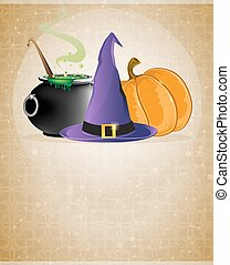 Witch hat, boiling cauldron and pumpkin on a beige...