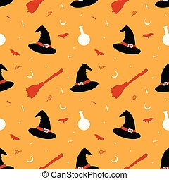 witch hat broom with flying bat and moon seamless pattern vector illustration halloween theme background